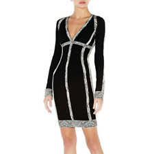 Herve Leger x BCBGMaxAzria Marina Chevron-Jacquard Bandage Black Size S Dress