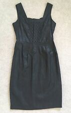BNWT Mariella Rosati Wet Look Linen 'Poiret' Sleeveless Dress In Black - UK 10