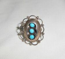 Size 8 Navajo Native American Nakai Turquoise Sterling Shadow Box Ring