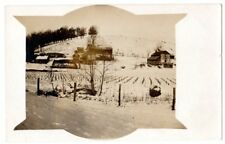RPPC  real photo log house, barns,out buildings,country farm,winter,horse&wagon#