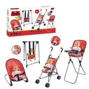 Doll Play Set 4Pcs Doll Set Bouncer, Stroller, Swing, Feeding Chair Doll Sounds