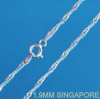 925 Sterling Silver 1.9mm SINGAPORE Chain Necklace New Solid Various Lengths