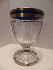 "HEISEY Glass 22k Gold Blue Bands Narrow Flute Ribs 5.75"" Water 1/2 LB Candy"