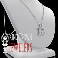 "10K White Gold Genuine Diamond Initial Letter Alphabet ""E"" Mini Pendant + Chain"