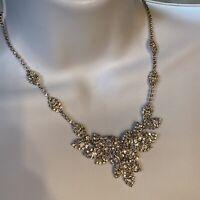 VNTG Articulated Layered Sparkling Clear Austrian Rhinestone Bib Necklace Choker