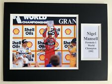 """Formula 1 Nigel Mansell Signed 16"""" X 12"""" Double Mounted Display"""