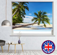 Palm Trees Tropical Beach Printed Picture Photo Roller Blind Blackout Remote