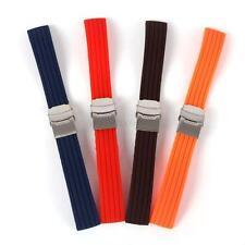 Silicone Rubber Watch Band Bracelet Strap Waterproof 16~24mm Deployment Buckle