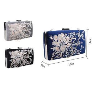 Women's Designer Style Embroidered Flower Clutch Bag