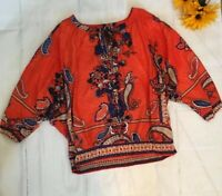 MULTIPLES Size Large Orange Blue Cold Shoulder BOHO Shirt Top EUC  (b)
