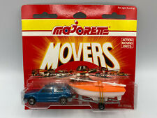 Majorette Movers Blue Hatchback Car With Trailer & Sail Boat Load Diecast New