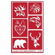 Armour Reusable Over n Over Glass Etching Stencil - ONO Wild Animals Bear Wolf