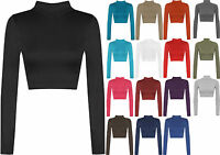 New Womens Turtle Neck Crop Top Long Sleeve Plain Polo Short Stretch Top 8-14