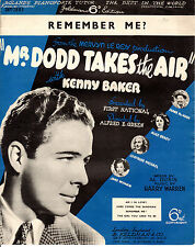 "SHEET MUSIC -""REMEMBER ME"" - KENNY BAKER - 1937 FILM ""Mr. DODD TAKES THE AIR"""