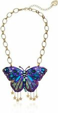 BETSEY JOHNSON GOLD STARS,PURPLE RHINESTONE,ACRYLIC,GLASS BUTTERFLY NECKLACE