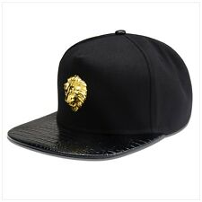 Black Lion 18k Gold Luxury Crocodile skin Hip Hop Fashion King Snapback Hat Cap