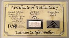 AMERICAN CERTIFIED BULLION 1 Gram 999 Solid Pure Silver Bar Sealed with Card COA