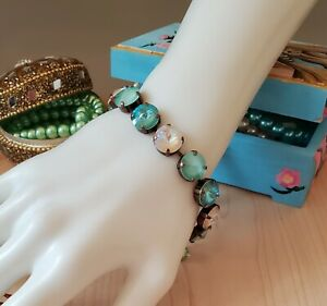 Antique Copper 12mm Mint Green Swarovski Crystal Bracelet - Bare Beauty!