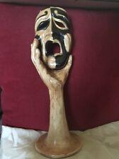 Stylish Contemporary Papier-Mâché Sculpture Depicting Hand Holding Tragedy Mask