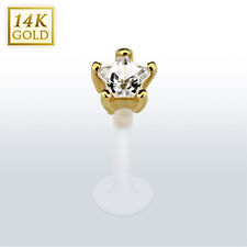 Star CZ 14K Yellow Gold with PTFE Flexible Bar Lip Piercing Labret Monroe Stud