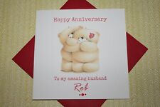 Handmade Personalised Forever Friends Bear Anniversary Card
