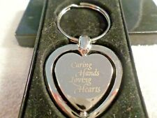 Caring Hands  Loving Hearts Stainless  Steel Rotating Heart Key Chain