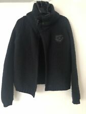 G Star Raw Size Small Chunky Knit Audrey Cardigan Black Warm Detachable Collar