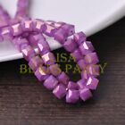 New 30pcs 8mm Cube Square Faceted Gold Foil Glass Loose Spacer Beads Fuchsia