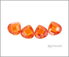 6 CZ Flat Pear Briolette Beads 8x8mm Fire Opal #64604