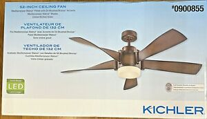 KICHLER 52  in Ceiling Fan - Mediterranean Walnut Finish, Brushed Bronze Accent