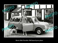 OLD LARGE HISTORIC PHOTO OF MORRIS MINI TRAVELLER 1960 LAUNCH PRES PHOTO 1
