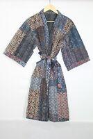 Woman's Ajrak Print Cotton Jacket Floral Bath Robe Patchwork Short Kantha Kimono