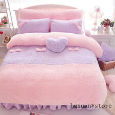 Purple Pink Luxury Plush Warm Comforter Quilt Cover Bedskirt Twin Queen King