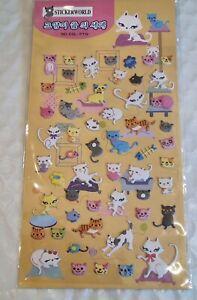Puffy Cat Sticker Sheet 3D Raised Cute Individual Stickers Craft Scrapbook