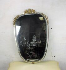 Wall Hanging Mirror Ornate Brass French Hollywood Regency Beveled Glass Vanity