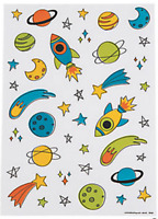 Pack of 12 - Trendy Space Sticker Sheets - Great Party Bag Fillers