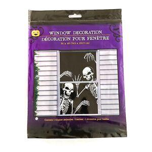"Happy Halloween Skeletons Spooky Scary Horror Window Decoration Plastic 30 x 48"""