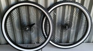 NEW 26'' X 2.125 BLACK 140 SPOKE BICYCLE RIMS N TIRES CRUISER, CHOPPER, LOWRIDER