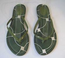 9720c3805644a J. CREW Green Patent Leather Fabric Insole Flip-Flop Thong Sandals 8 ITALY