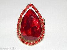 Beauty Stunning Gold Red Ruby Rhinestone Crystal Stretch Ring