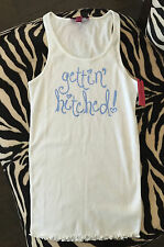 NWT Betsey Johnson Bride Gettin Hitched White Blue Tank top tee Small
