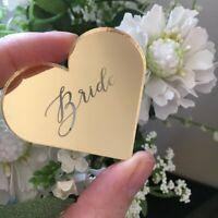 Heart Gold Mirror Acrylic Table Name, Wedding Place Name, Laser Engraved Mirror