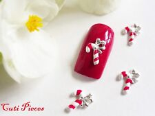 """3D Nail Art Christmas Silver Red Stripe Bow """"Candy Canes"""" Xmas Alloy Metallic"""