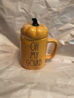 Rae Dunn By Magenta Oh My Gourd Fall Mug with Pumpkin Topper New