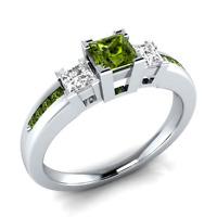 Elegant Women Princess Cut Peridot & White Sapphire 925 Silver Ring Size 6-10