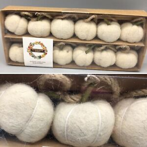 "Fall Cream Wool Felt 1"" Pumpkin Garland 6 Ft Long Farmhouse Country Thanksgiving"
