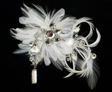 Ornate Feather & Jeweled Bridal Hair Clip/Pin
