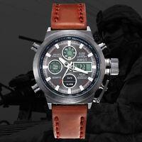 AMST Military Army Men's Sport Army Leather LED Quartz Wrist Watch Waterproof