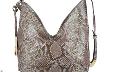 GILI Leather Crisscross Crossbody-Soft Supple-Designer Handbag-PYTHON PRINT NWT