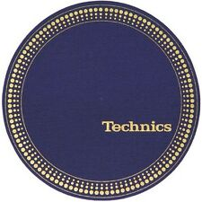 Technics Felt Logo DJ Slipmats (pair, blue with gold logo and strobe print)